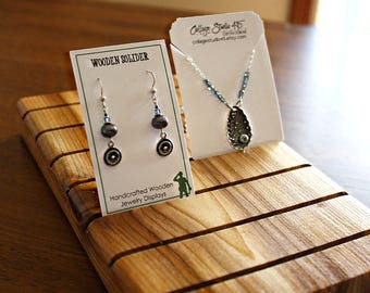 10 Inch by 5 inch Wooden Earring Card Display, Necklace Card, Bracelet Card Displays, Customized with 25 FREE Earring Cards 2x3.5 inches
