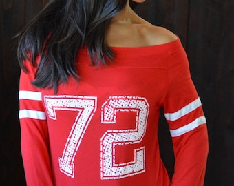 CUSTOM Number Shirt. 7 Colors to Choose From. Wide Shouldered Sporty Long Sleeved Tee. Made in the USA. Team Number Shirt. Sports Shirt.