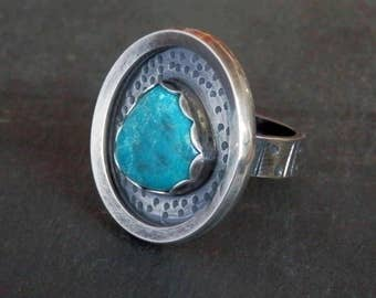 Turquoise ring / Compass mine turquoise / statement ring / December birthstone / turquoise jewelry / size 8 ring / ready to ship