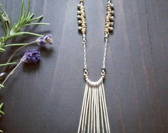 Warrior Necklace . Sterling Silver Fringe Necklace with Brass and Pyrite Accents
