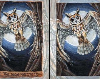 Owl Print, Any Size, Bird of Prey, High Priestess Tarot Card, Full Moon, Wildlife Artwork, Spirit Animal Totem, Animism Tarot Deck