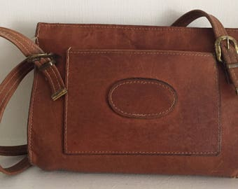 Heavy Leather 1960s Brown Shoulder Bag