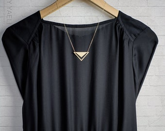 Gold triangle necklace, triangle necklace, gift under 50, Geometric necklace, gold triangular necklace, everyday necklace, gift for her.