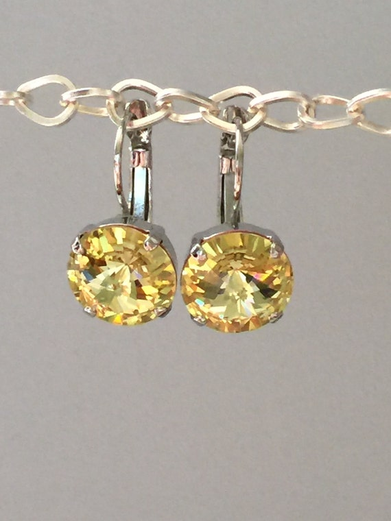 Yellow Swarovski Crystal Earrings, Silver