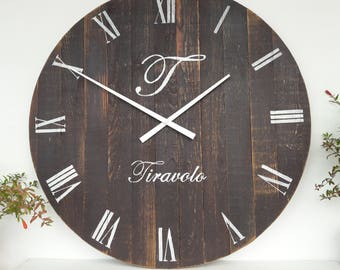 Personalized Rustic Clock  Large wall clock 24 inch Rustic kitchen decor Wall clocks Wedding gifts for couple