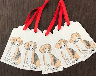 Pack of 5 hand painted beagle gift tags