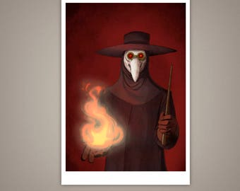 The Plague Doctor Giclee Illustration Art Print, 5x7, Horror, Macabre, Halloween, Eerie, Fire, Medicine Man, Historical, Matte Finish