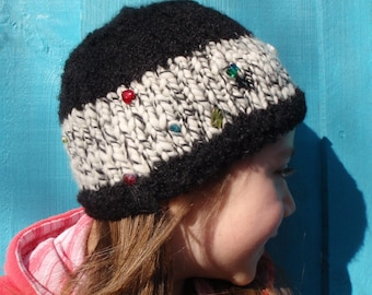 Ready To Ship: OOAK Wear ME - Soft as a Cloud Merino and Alpaca Hat - Child to Adult - With Glass Beads