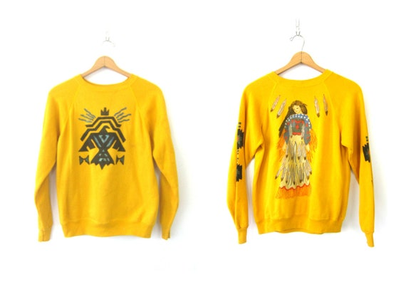 80s Southwestern Sweatshirt Yellow Sweater Painted Novelty Jumper Boho Tribal Sweater Women's Size Medium Large