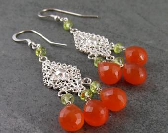 Carnelian chandelier earrings with peridot, sterling silver-OOAK