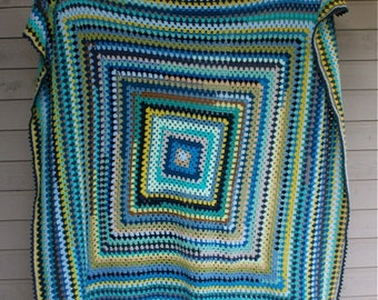 Crochet blanket-Crochet Granny Square Blanket-Queen Size Blanket-Crochet Blue and Green Throw Blanket-gift-by The Wiggles and Squeaks Shoppe