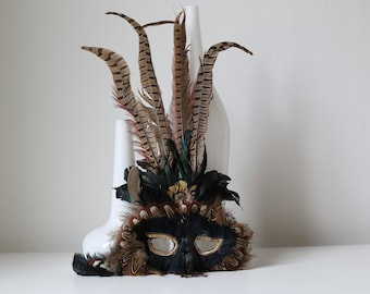 Vintage mask from real feathers, feather mask, Venetian mask, masquerade, Carnival mask, Carnival mask, Papageno mask, Panel
