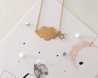 Soft and poetic, gold chain necklace, gold cloud and stars