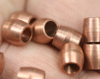 raw copper tube 20 pcs 6 x 6 mm (hole 4 mm)  spacer bead bab4 1810