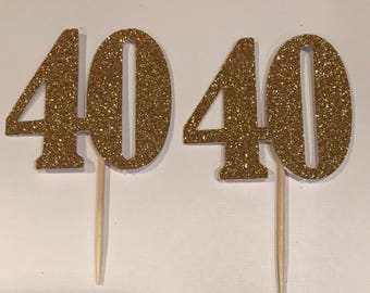 40 Birthday Cupcake Toppers, happy birthday, milestone birthday, 40, happy 40 birthday