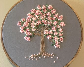 Embroidery hoop, nursery decor, kids decor, cherry blossoms, pink blossoms, preety wall art, home decor, dogwood blossoms