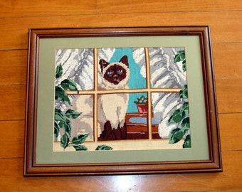 Vintage siamese cat needlepoint picture-completed art-framed finished needle point
