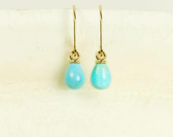 CUTE & DAINTY* 18K Solid Gold Tiny Turquoise Earrings 14K, 14K Small Turquoise Earrings 18K, 18K Turquoise Earrings 14K, 18K Turquoise 14K,