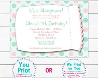 Slumber party girls birthday -- printable invitation -- sleepover, pajama party mint and pink