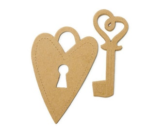 Heart Key Lock chipboard die cut shapes. Plain brown kraft thick board skeleton key More designs available