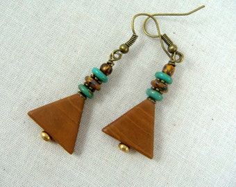 Turquoise and Brown Earrings, Triangle Earrings, Triangle Dangle Earrings, Casual Everyday Earrings