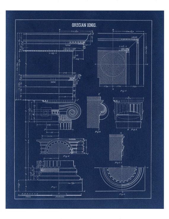 Blueprint wall decor greek ionic column drawing architecture te gusta este artculo malvernweather Choice Image