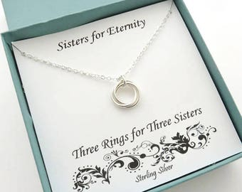 Sister Gift, Three Sisters Necklace, 3 Sisters Gift, Sterling Silver Ring Necklace, Three Ring Necklace, Silver Sister Necklace, MHD