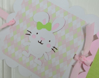 Birthday Banner, Birthday Party, Bunny 1st Birthday Banner, Bunny Theme, Light Pink, and  Green Theme