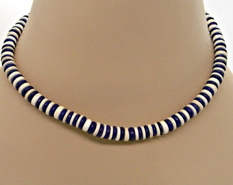 Deep Purple Surfer SUP Necklace 8mm Dia. Coconut Beads 17 Inch Length 7012