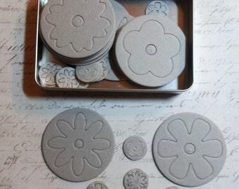 Maya Road Fresh Chipboard: Blossoms ll in a Metal Tin -  36 Piece Set