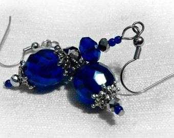 Cobalt Blue Earrings, Blue Earrings, Vintage Style Blue Glass And Silver Earrings In Deep Cobalt Blue, Silver Earrings, Dark Blue, CLASSIC