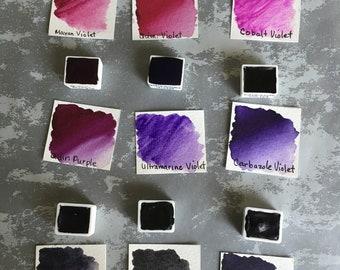 Watercolor Hand Poured Half Pans - Daniel Smith Watercolors - Purples