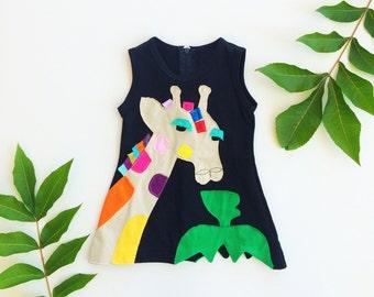 Girl's Dress, GIRAFFE Dress, GIRAFFE Clothing, Handmade Clothing, Applique Dress, Applique Clothing, Black Dress, Children's Dress, Safari
