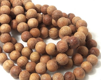 Unfinished Bayong Wood Beads, 10mm, Round, Smooth, Natural, Round, 16 Inch Strand - ID 1644