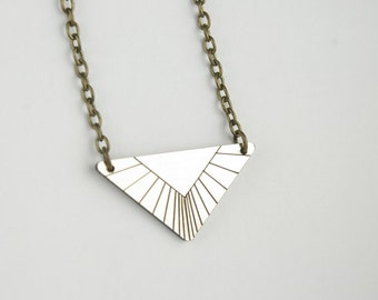 Modern Geometric Triangle Pendant Necklace