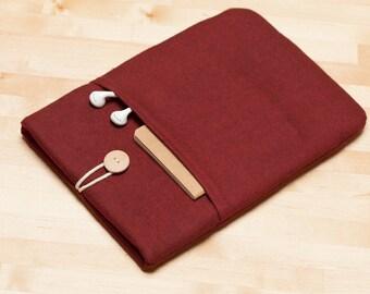 Macbook pro 15 sleeve,  15 inch laptop case, 14 inch laptop case, macbook 15 sleeve - Flannel maroon