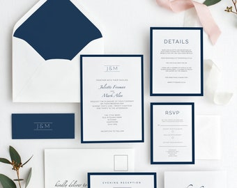 Printable wedding invitations, Navy wedding invitations, Modern wedding stationery, with envelope liners and belly bands, DIY invitations