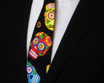 Ties for Halloween – Gift for Men / Sugar Skull Neck Tie for Halloween and Everyday.