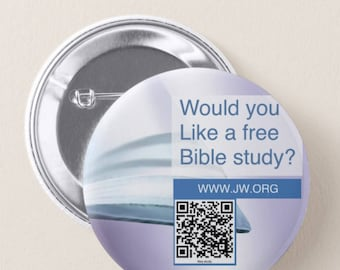 JW.ORG custom back pin button - would you like a bible study? . With QR code 2.25""