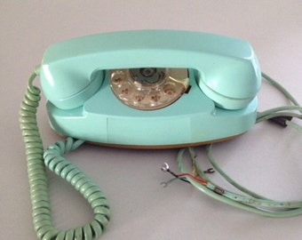 Vintage Princess® Telephone, 1964, Turquoise Aqua Blue, Western Electric, Original Cord, Conductor