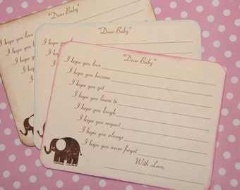 Elephant Dear Baby Wishes Cards, Baby Shower Game Activity Fill In The Blanks, Boy or Girl, Quantity 30