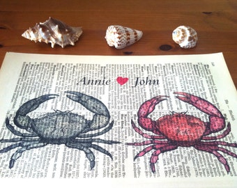 Wedding Gift | Husband Gift | Gift for Wife | Valentine Gift | Crab Love Art Print | Book Art | Engagement Gift | Personalized | Wall Decor