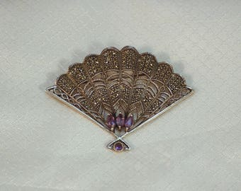 Vintage Sterling Fan Brooch with Marcasites and Faceted Amethyst Glass Stones
