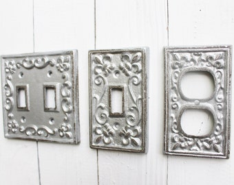Light Switch Cover,Double Iron Switch Plate,Single Switch Plate,Silver Metallic Metal Outlet Switch Plate Cover,Decorative Switch Plate