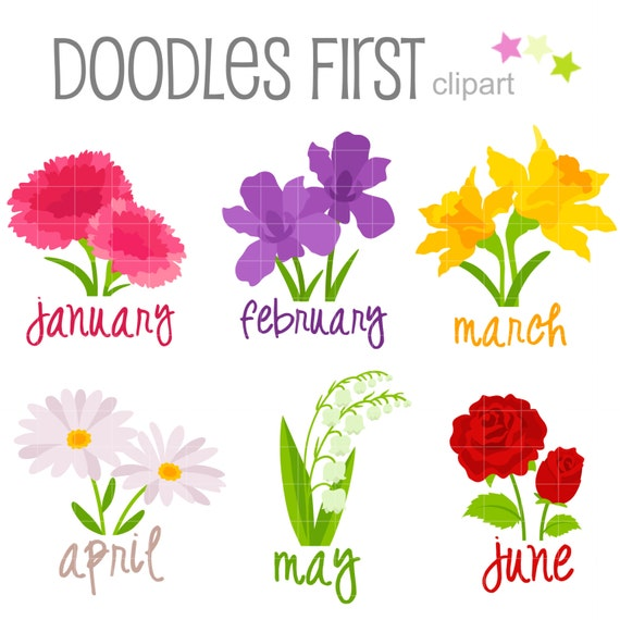 Flowers Of Each Month: Flower Of The Month January June Digital Clip Art For