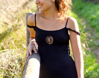 Creative Tribal Elegant Dress in black tone with handmade macrame mandala  and natural stone.