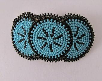 Blue and Black Hair clip, Beaded barrette, Blue and Black bead, Beaded Accessory, Native American beadwork, Beaded Hair tie,