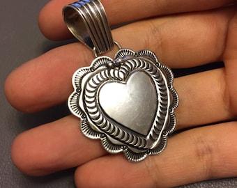 Vintage sterling silver handmade pendant locket, Mexico 925 silver heart shaped locket, signed by A CADMAN, Navajo pendant