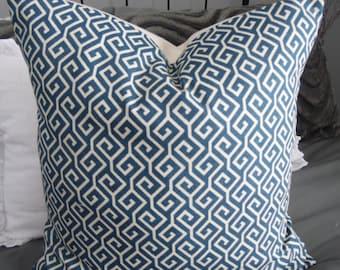 Blue Pillow.Blue.Cream.Slipcovers.Toss pillows.Throw Pillows.Home Decor.Geometric Pillows.