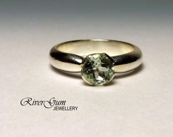 Green Amethyst Solitaire Ring, Collet Setting, Crown Setting, Size 7, Ready to Ship, Metalwork by RiverGum Jewellery